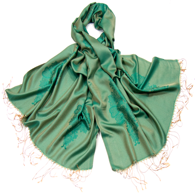 Etole vert soie viscose baroque