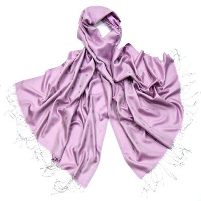 Etole foulard parme pois soie viscose