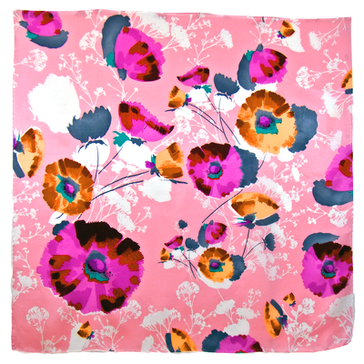 Foulard en soie satin rose floralie premium 90 x 90 cm