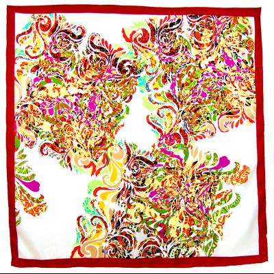 Foulard en soie satin rouge volutes premium 90 x 90 cm