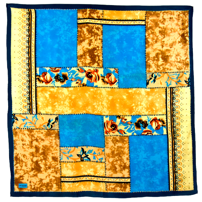 Foulard en soie satin bleu turquoise patchwork premium 90 x 90 cm