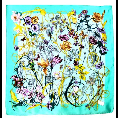 Foulard en soie satin bleu vert fleurettes premium 90 x 90 cm