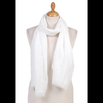 Foulard chèche blanc lin coton premium