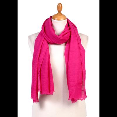 Foulard chèche rose fushia lin coton premium