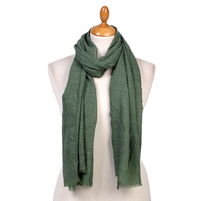 Foulard chèche vert lin coton premium