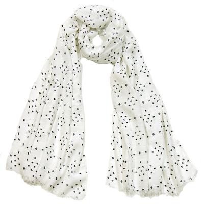 Foulard chèche blanc losanges lin coton premium