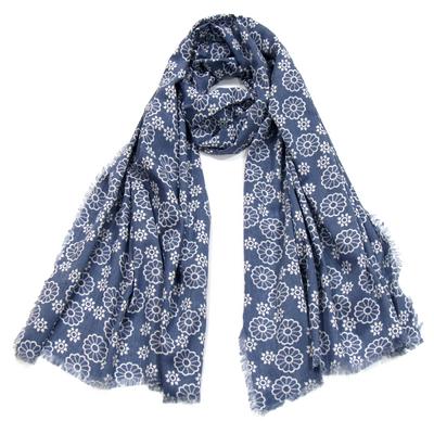 Foulard chèche bleu rosaces