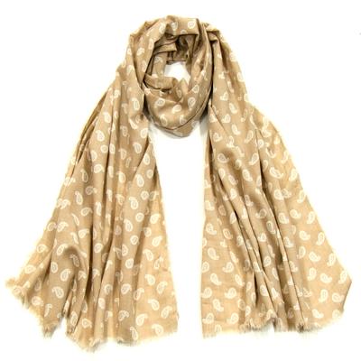 Foulard chèche beige petit cachemire