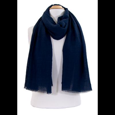 Foulard chèche bleu marine lin coton premium