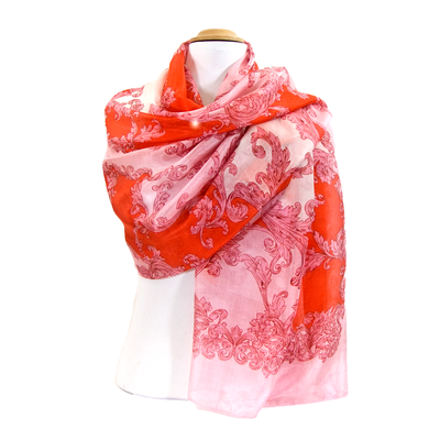 Etole en soie rose arabesques premium