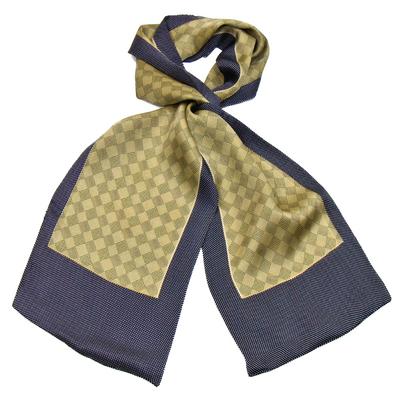 Foulard écharpe soie homme beige carreaux