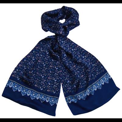Foulard écharpe soie homme bleu marine paisley frise