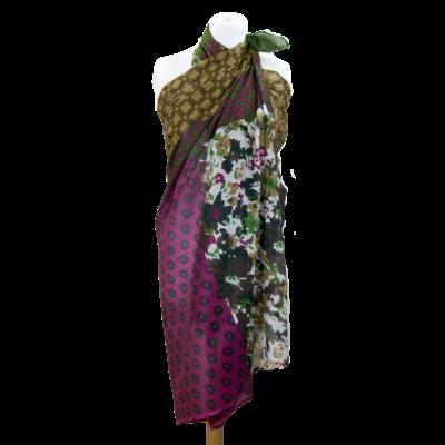 Paréo kaki coton rayures et fleurs