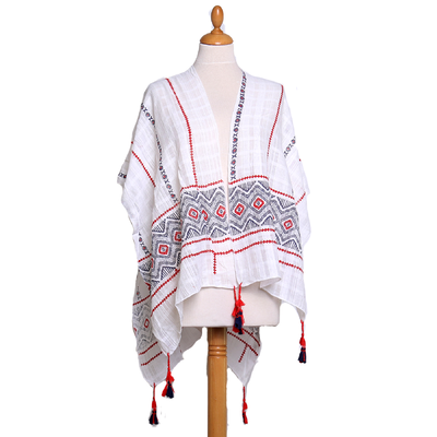 Poncho foulard rouge ethnique pompons