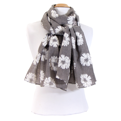 Foulard chèche gris marguerites