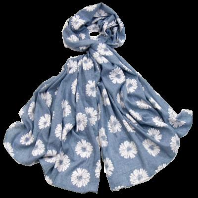 Foulard chèche bleu marguerites