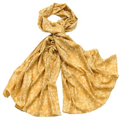 Foulard chèche moutarde petites fleurs