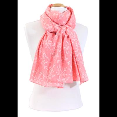 Foulard chèche rose bonbon petites fleurs