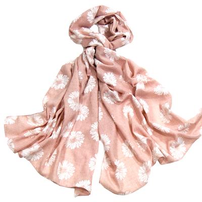 Foulard chèche rose marguerites