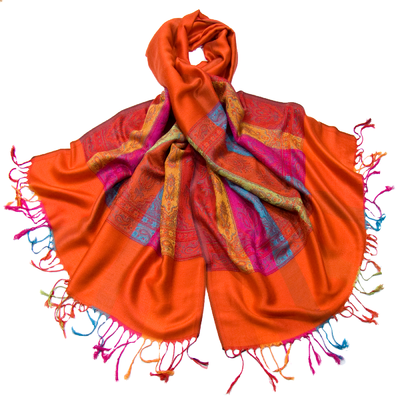 Etole pashmina orange tissée bandes multicolores