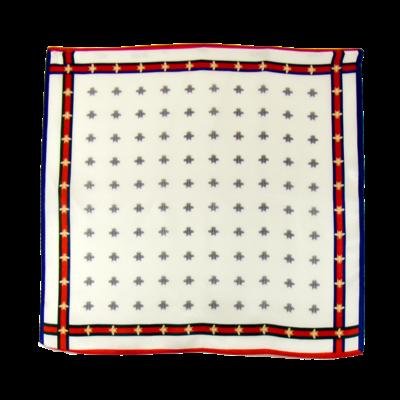 Foulard en soie écru abeilles 50 x 50 cm premium