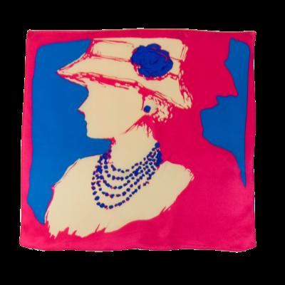 Foulard en soie rose coco 50 x 50 cm premium