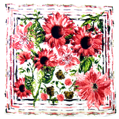 Foulard en soie satin rose marguerites premium 90 x 90 cm
