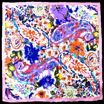 Foulard en soie satin rose cléa premium 90 x 90 cm