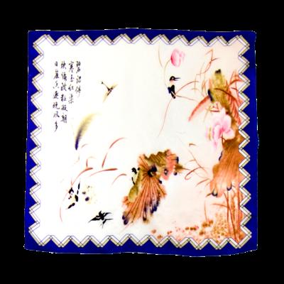 Foulard carré en soie mini bleu paint 50 x 50 cm