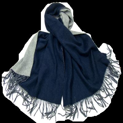 Etole en laine deux faces marine et gris