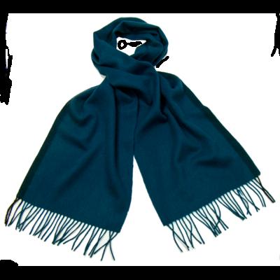 Echarpe en laine bleu canard rayure