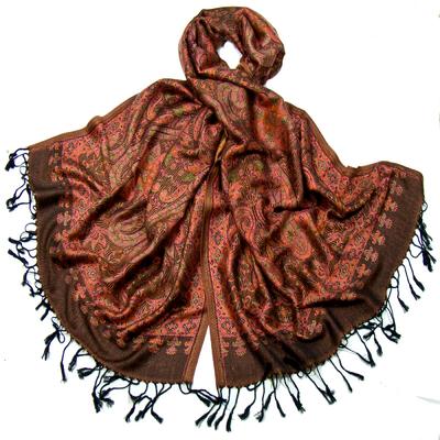 Etole pashmina corail motifs baroques