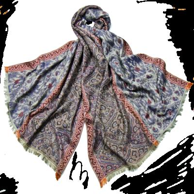 Etole pashmina tissage batik mauve