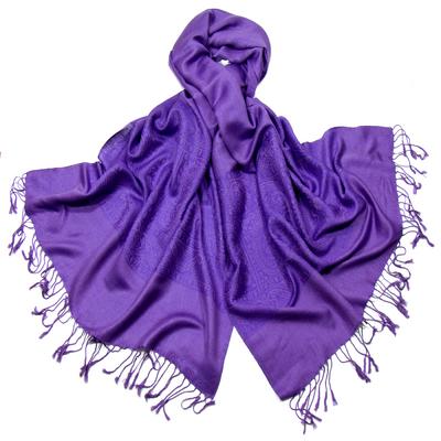 Etole pashmina violet damassé