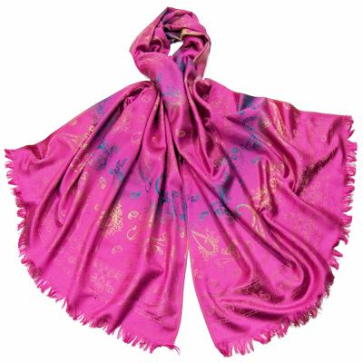 Etole en pashmina rose fushia motifs dégradés
