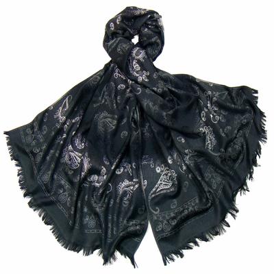 Etole en pashmina noir motifs dégradés gris