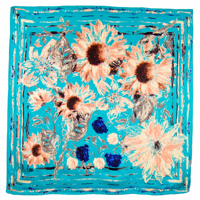 Foulard en soie satin turquoise marguerites premium 90 x 90 cm