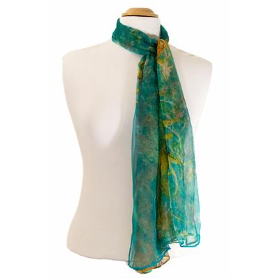 Foulard mousseline de soie vert feuillages