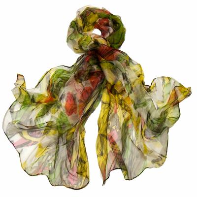 Foulard mousseline de soie vert flower