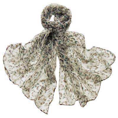 Foulard mousseline de soie noir fleurettes