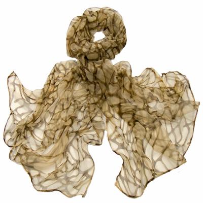 Foulard mousseline de soie beige mosaic