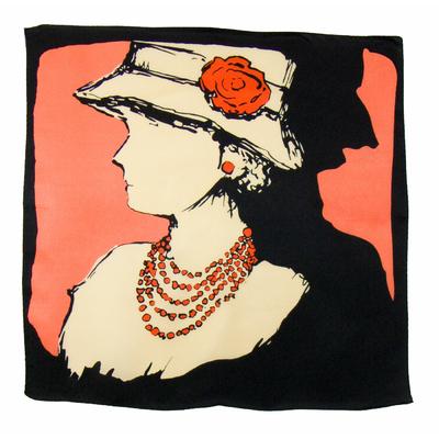 Carré de soie foulard corail coco 50x50 premium