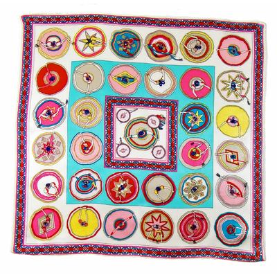 Carré de soie foulard écru pensées 50x50 premium
