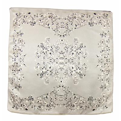 Carré de soie foulard gris bleuets 50x50 premium