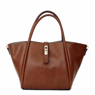 Grand sac cabas en cuir marron camel Tim et Joss