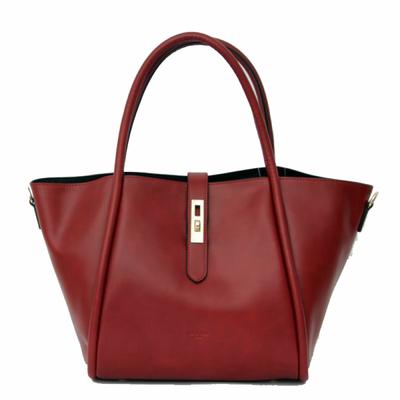 Grand sac cabas en cuir rouge bordeaux Tim et Joss
