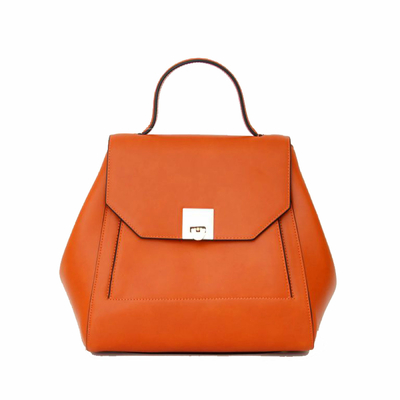 Sac en cuir rabat orange Tim et Joss