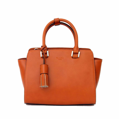 Sac en cuir Tim et Joss orange pompon