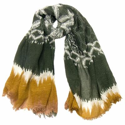 Foulard chèche kaki tie and dye