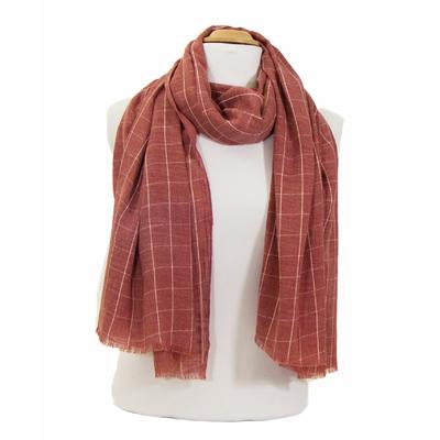 foulard cheche homme bordeaux clair carreaux 2